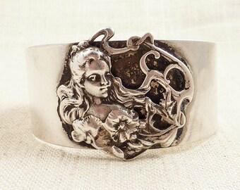 SALE ---- Vintage Art Nouveau Style Flower Maiden Cuff Bracelet