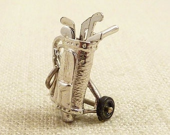Vintage Sterling Golf Bag Charm with Moving Wheels