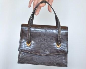 Vintage 50's alligator faux Leather handbag // retro purse // vintage couture