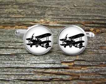 Airplane Vintage Aviation Plane Silver or Gold-Cufflinks-Wedding-Jewelry Box-Keepsake-GiftMan-Men Gift-USA-Steampunk-Pilot-Flying-Groom