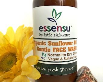 Organic Sunflower Oil Nourishing Gentle Face Wash for Normal , Dry , Sensitive Skin | Moisturizing | Vegan | No Sulfates , No Gluten - 4 oz