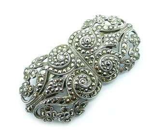 Large Antique Art Deco Sterling silver Marcasite Duet Convertable Dress clip brooch Unique Gatsby vintage Wedding Bridal jewellery c1930's
