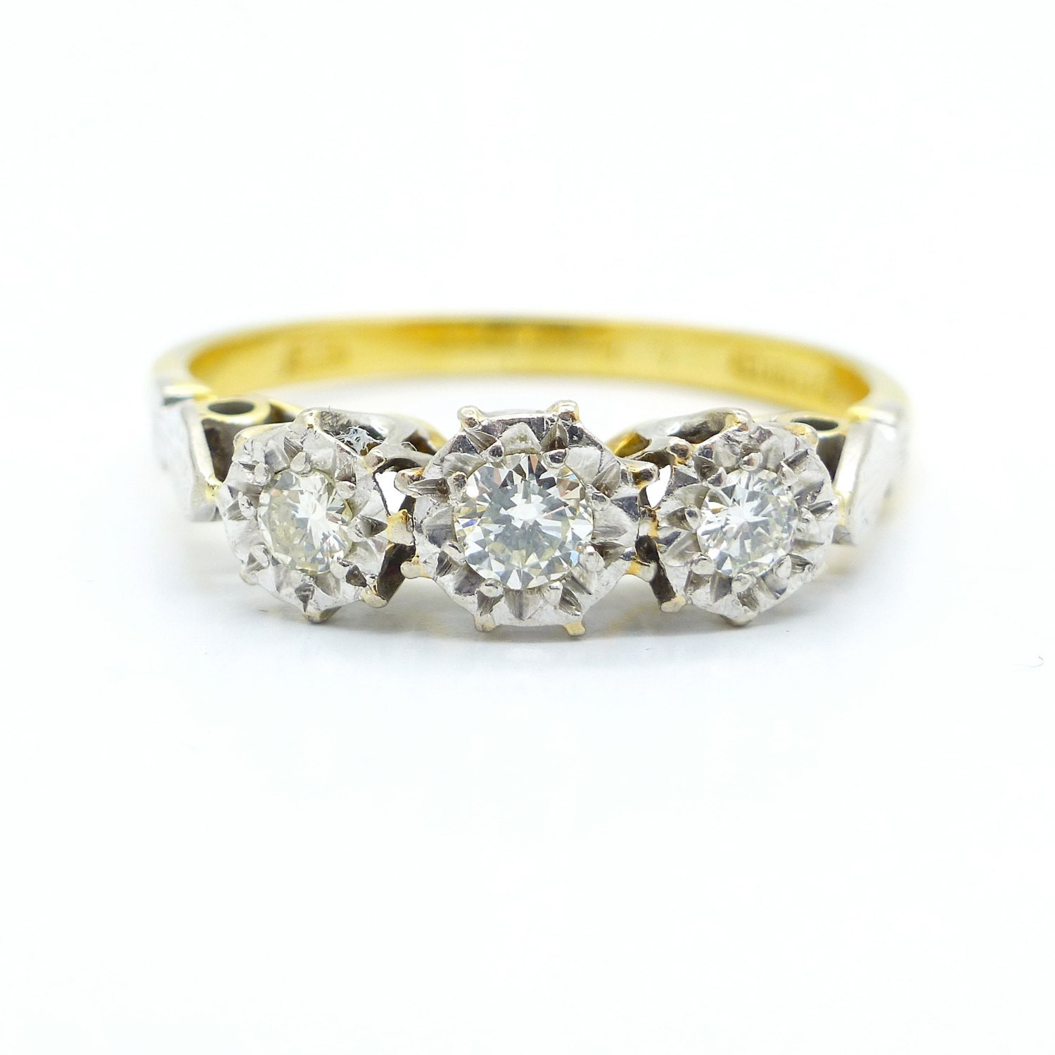 Vintage engagement ring 18ct 18k Antique three stone diamond