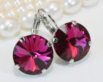 Fuchsia Crystal Earrings Swarovski Pink Earrings Hot Pink Large Crystal drop earrings Berry Fuchsia wedding,14mm,Fuchsia,Silver finish,SE106