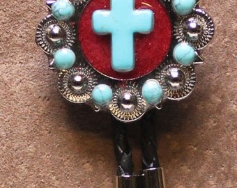 Turquoise Cross on Sand Bolo Tie