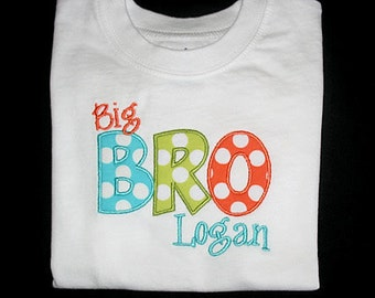 Custom Personalized Applique Big, Middle, or Little BROTHER and NAME Bodysuit or Shirt - Ocean, Lime, and Tangerine Orange Ta Dots