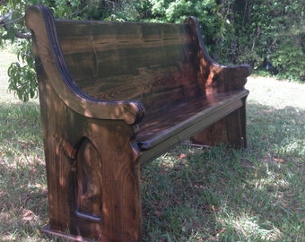 """62"""" Stained (Jacobean) Wooden Church Pew"""
