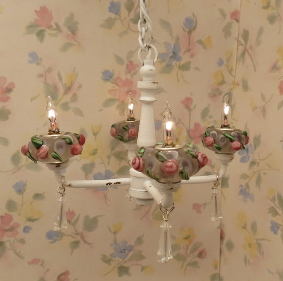 Dollhouse Miniature Shabby Chic Pink Roses Crystal By