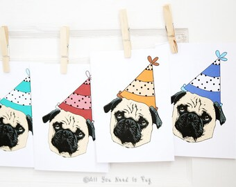Birthday Party Pug Greeting Card - Pug Birthday Card - Pug Card - Dog Birthday Card - Pug Cards - Dog Cards - Cute Birthday Card