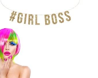 GIRL BOSS Gold Glitter Banner.  #GIRLBOSS Glitter Garland.  Small Business Motivation. Office decor. Birthday Party. Wedding Shower.