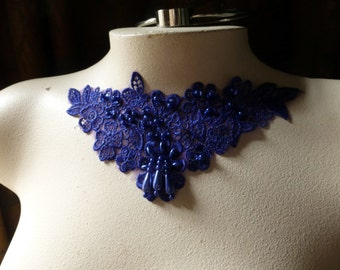 Venise Lace Applique in Yves Klein Blue with Beadwork for Garments, Jewelry or Costume Design CA 755ykb