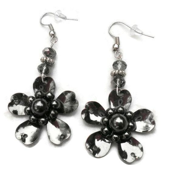 black metal flower earrings handmade earrings unique