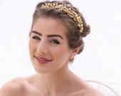Gold Pearl and Vintage Enamel Leaf Headband, Wedding Hair Accessory Beaded Headband in Gold and Ivory Beaded Bridal Headpiece