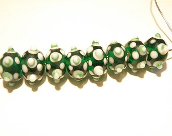 20% OFF -- DESTASH -- Eight (8) Translucent Green and White Bumpy Rondelle Beads - Lot OO