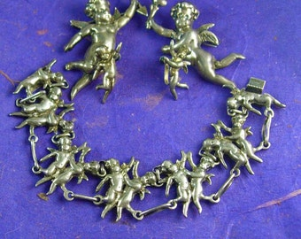 Reserved for Claudia RARE Antique STERLING CHERUB Parure Silver bracelet earrings 2 Brooch putti Victorian angels 4pc set