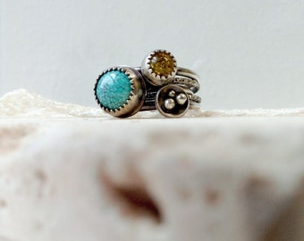 Stacked Ring Set with Turquoise and Amber