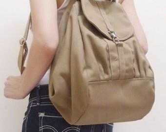 Back To School SALE - 20% OFF Essential in Khaki / Backpack / Rucksack / Diaper Bag / Tote / Women / Shoulder Bag / For Her / Gift Idea