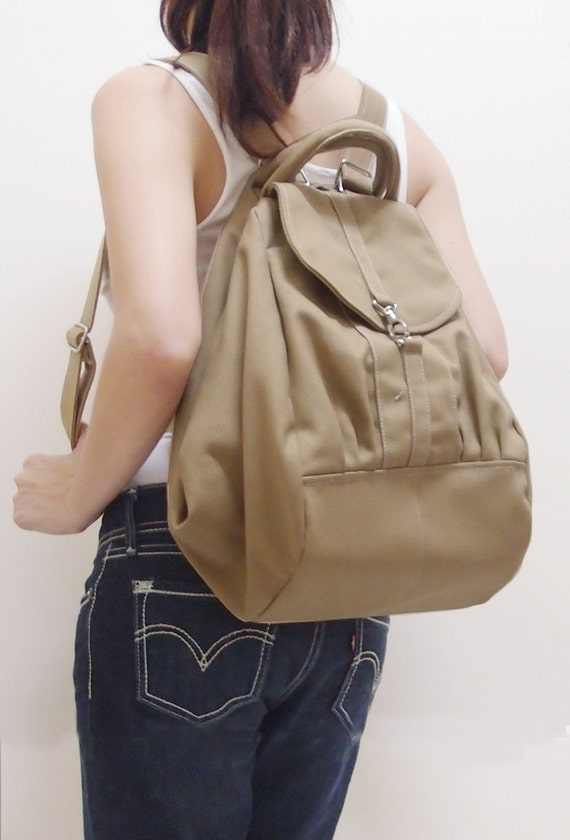 Canvas Women Backpack in Khaki, Shoulder Bag, Tote, Crossbody Bag, Travel Backpack, Satchel, Rucksack, Gift For Girls - ESS - SALE 20% OFF