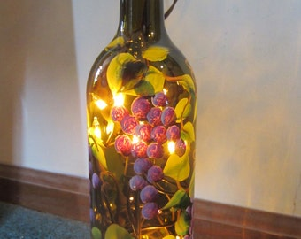 Grape Lighted Wine Bottle **Brown / Green***  Night Light*** Lantern****