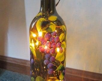 Grape Lighted Wine Bottle **Brown / Green***  Night Light*** Lantern****