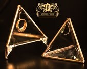Glass Engagement Ring Holder Pyramid - Jewelry Display Case -Limited Edition 24 KT GOLD- Original Design by Philip Crow Wedding Engagement