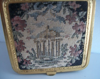 Vintage Makeup Powder Compact Small 1950s  Needlepoint Gazebo Design Columbia Creation  2  & 3/8  X about 3/8 inches tall.