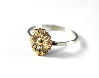 Sunflower Ring, Flower Stack Ring, Flower Ring, Silver Stack Ring, Sunflower Stack Ring