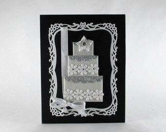 Wedding card, wedding cake, wedding day, elegant, congratulations, black and white