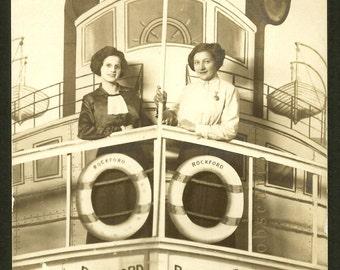 Unusual - Steamboat - Rockford  - Arcade Photo 1913 Antique RPPC