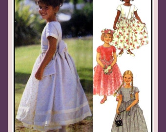 SPECIAL OCCASION DRESS-Girl's Sewing Pattern-Four Styles-Matching Bag-Ruched Side Bodice-Lace Overlay-Ribbon Bands-Lined-Uncut-Size 3-8-Rare