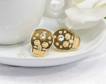Gold Mirror Acrylic Etched Sugar Skull Post Earring with Swarovski Crystal