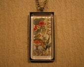 Nasturtium and Lily of the Valley Color Lithograph Large Rectangle Glass Pendant with Necklace Black, Silver, Antique Gold, Antique Copper