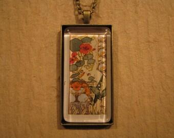 Nasturtium Pendant, Lily Pendant, Floral Pendant, Etudes de Fleurs, French Pendant, Rectangle Pendant, Glass Pendant