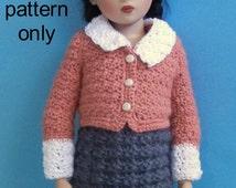 Crochet pattern (PDF) for 14-inch child doll Chrysalis by Kish or 15-16 inch fashion doll Ellowyne - Back to School cardigan & dress