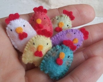 Rainbow Felt Chickens - miniature chicken plush - cute Easter chicks - felt Easter ornaments