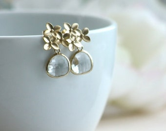 Gold Orchid, Cherry Blossom, Clear Glass Gold Plated Framed Glass Jewel Ear Post, Stud Earrings. Bridesmaid Gift, Maid of Honor, Gold Flower
