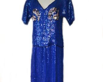 80s Sequin Outfit Blouse Skirt Cobalt Sz S to Sz M
