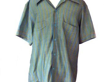 1970s Mens Shirt Masterbuilt Striped Shirt Sz S