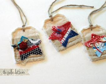 handmade patriotic stars fabric tags, set of 3