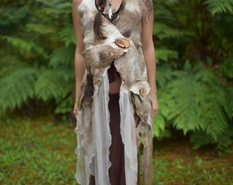 Nuno Felted Melted Warrior Princess Tribal Primitive Eagle Feather Pixie Fairy Tree Roots Pocket Halter Vest Top With Corset Closure OOAK