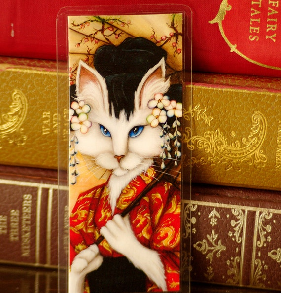 Cat Wearing Japanese Kimono Art Bookmark
