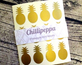 48 Gold pineapple stickers, Gold pineapple mini decals, Gold pineapple envelope seals, for packaging, gift wrapping or wedding invitations