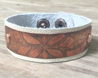 Copper Leather Cuff, Etched Copper, Leather Bracelet, White Leather Cuff, Cuff Bracelet, Leather, Copper Jewelry, Artisan