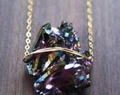 SALE Titanium Druzy Gold Necklace