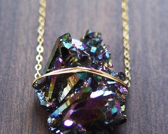 Titanium Druzy Gold Necklace