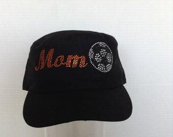 Soccer Ball with Varsity Orange Crystal Mom Military Style Cap