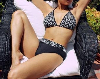 Muheeka Two Piece Swimsuit, Black and White CHEVRON Print, Mid-rise Bikini Bottom with Triangle Top, Bikini, Hand Made