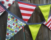 Modern Fabric Bunting Banner  Red, Slate Blue, Chartreuse - Reversible Reusable Flags - Ready to ship
