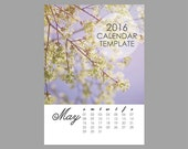 Printable 2016 Calendar Template, 5x7 size loose sheet 12 months calendar, Downloadable file for photographers, Print Your Own Calendar