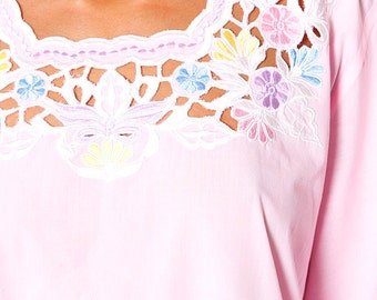 The Pastel Pink Cut Out Floral Ethnic Tunic Blouse